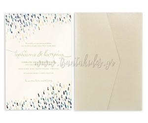 Προσκλητήριο γάμου με πινελιές σε dusty blue