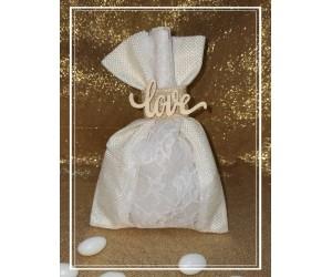 Μπομπονιέρα γάμου πουγκί Love
