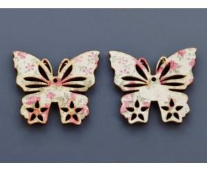 Διακοσμητική Ξύλινη Πεταλούδα Floral