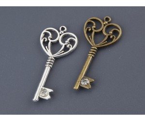 Διακοσμητικό Κλειδί με στρασάκι, μεταλλικό