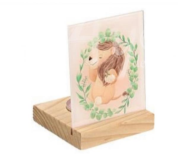 Plexiglass σε ξύλινη βάση ρεσώ Lion