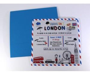 Προσκλητήριο Βάπτισης Post Card London