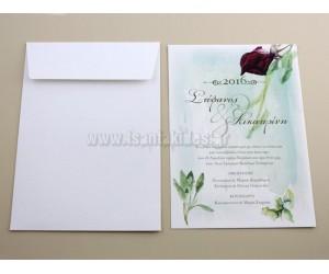 Προσκλητήριο Γάμου τριαντάφυλλο ακουαρέλα