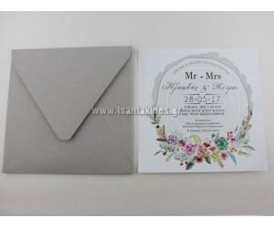 Προσκλητήριο Γάμου Κορμός Δέντρου με Στεφάνι Λουλουδιών, 7636